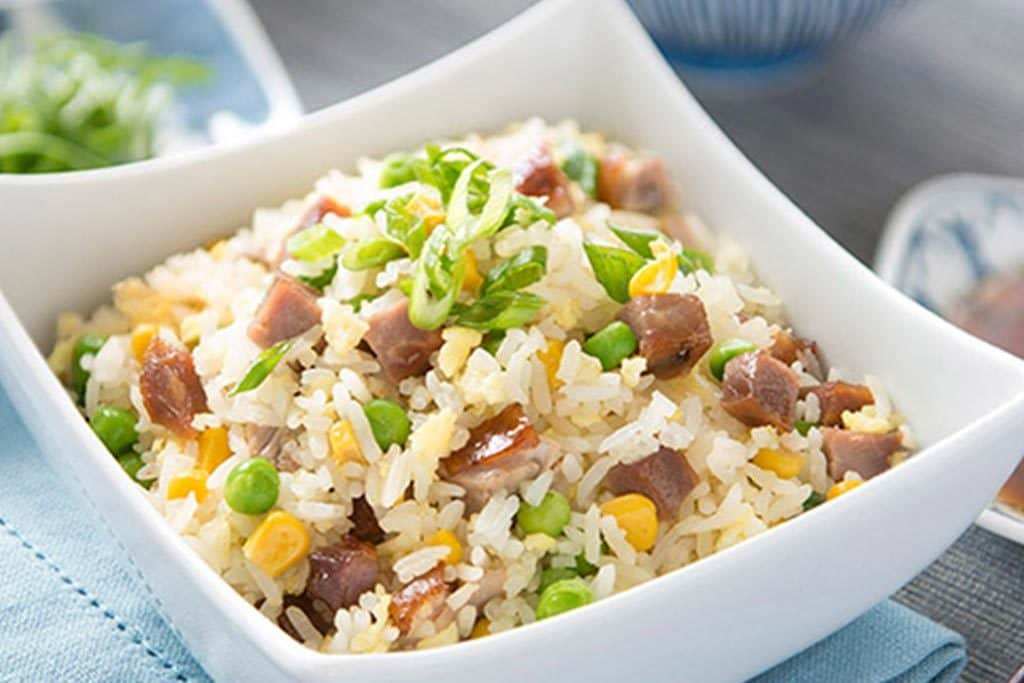 Riz frit au porc BBQ et au canard rôti