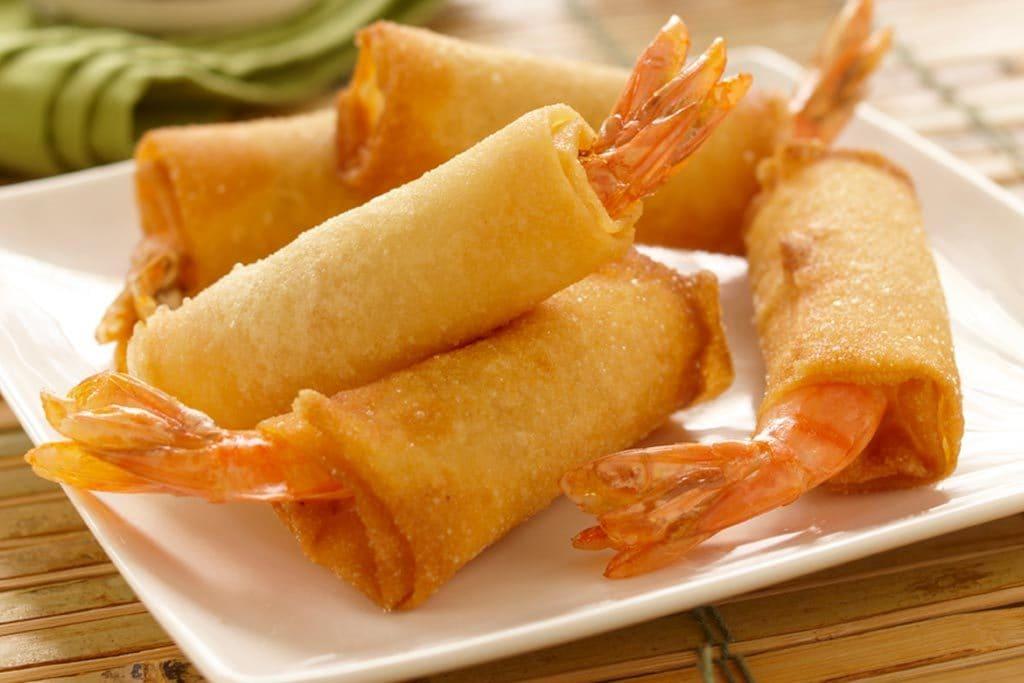 爽脆中式鲜虾炸春卷
