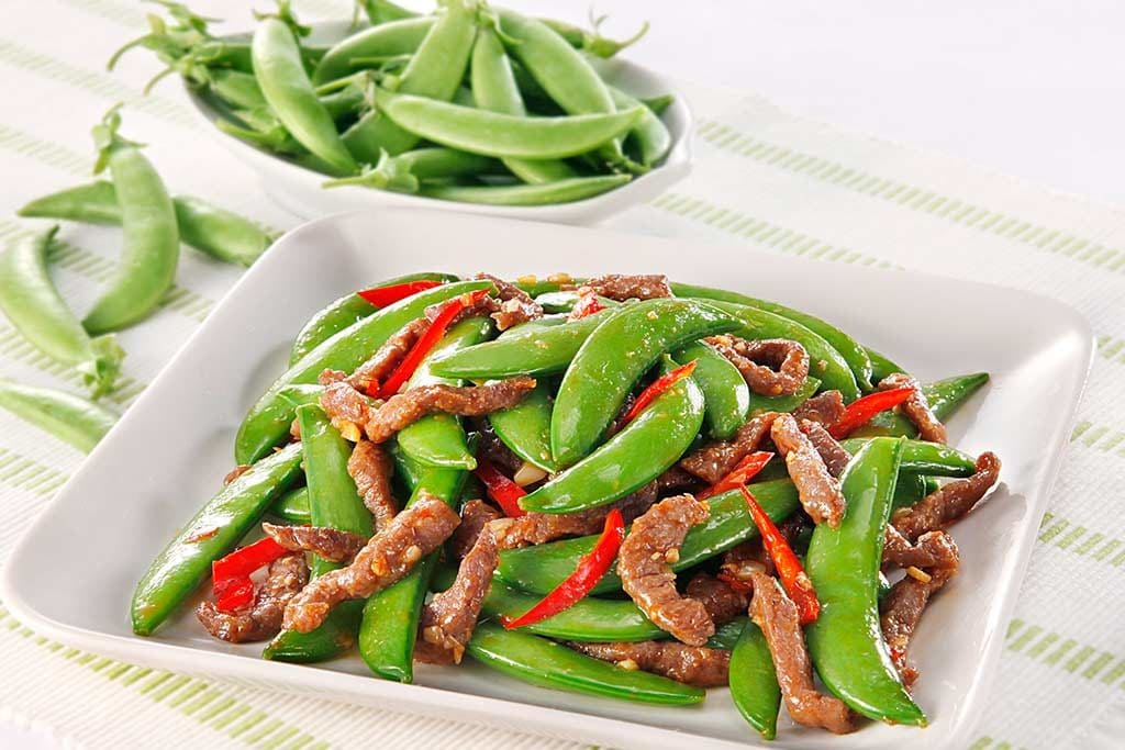 香辣牛柳炒甜豌豆