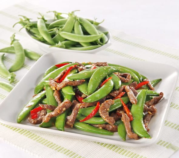 shredded beef with peas