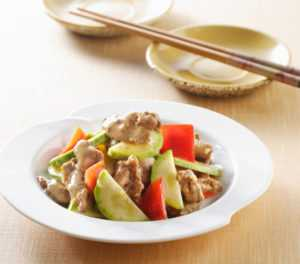 pork and cucumber stir fry