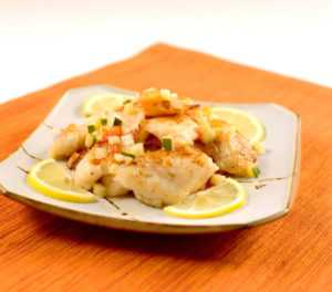 fish fillet with lemon sauce