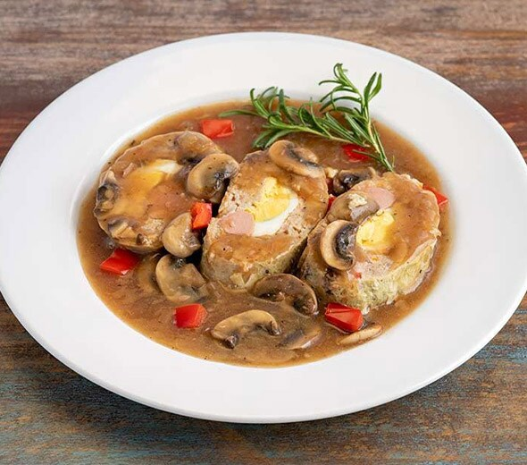 AUTHENTIC MONGHE WITH MUSHROOM AND ONION GRAVY